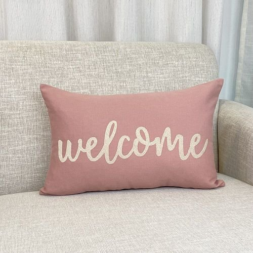 Capa Para Almofada Rosa Blush Welcome
