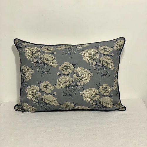 Porta Travesseiro Florata Flores Cinza