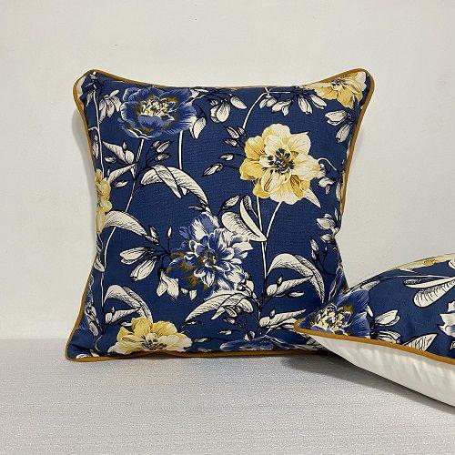 Capa Para Almofada Com Vivo Cotone Flores Azul e Amarelo