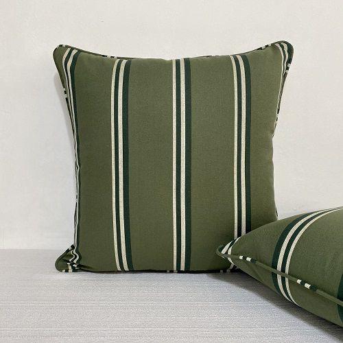 Capa Para Almofada Com Vivo Listra Verde Escoces