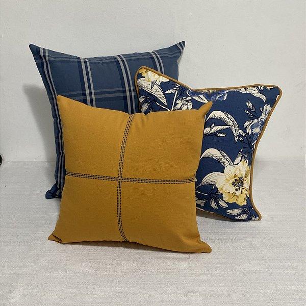 Kit Padrão Cotone Flores Azul e Amarelo e Xadrez Indigo