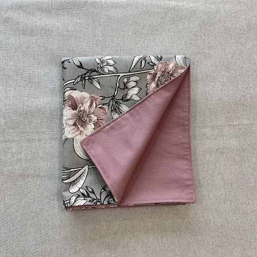 Peseira Dupla Face Cotone  Flores Cinza e Rosa Blush