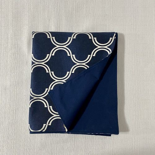 Peseira Dupla Face Geométrico Azul Marinho