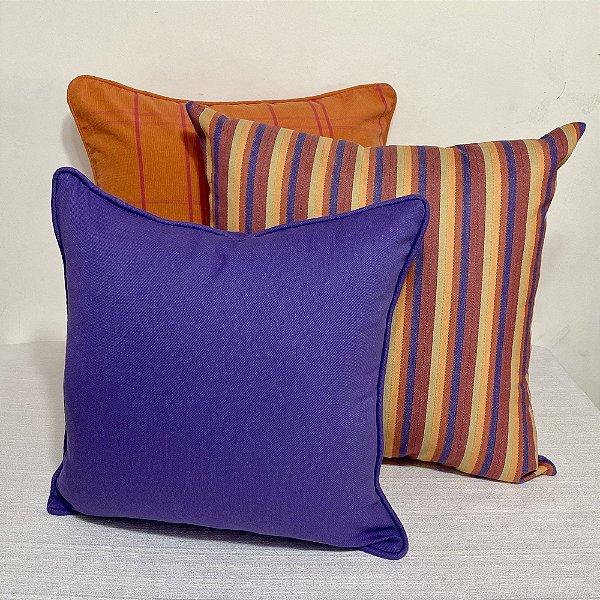 Kit Big Listra Violeta e Laranja e Laranja Xadrez