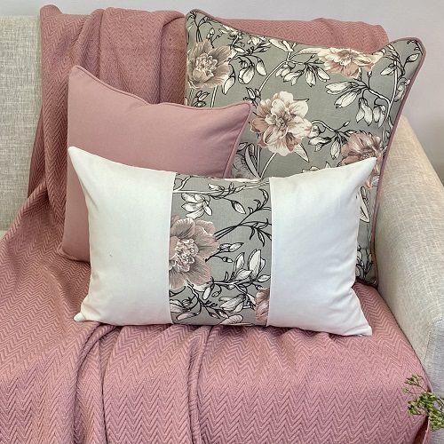 Kit Big Cotone Flores Cinza e Rosa Blush e Liso Rosa Blush