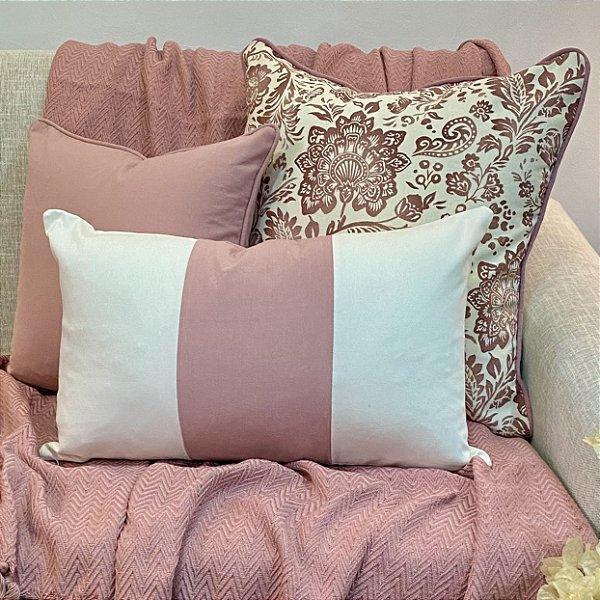 Kit Big Cotone Flores Rosa Blush e Listra Vertical