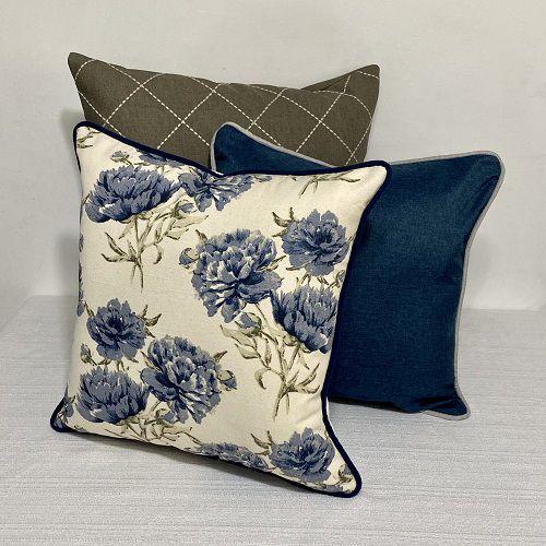 Kit Padrão Florata Flores Azul e Bordada Losango