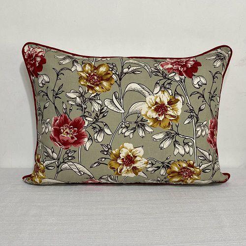 Porta Travesseiro Dupla Face Cotone Flores Mostarda e Vermelho