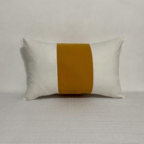 Capa Para Almofada Faixa Vertical Cotone Amarelo Curry