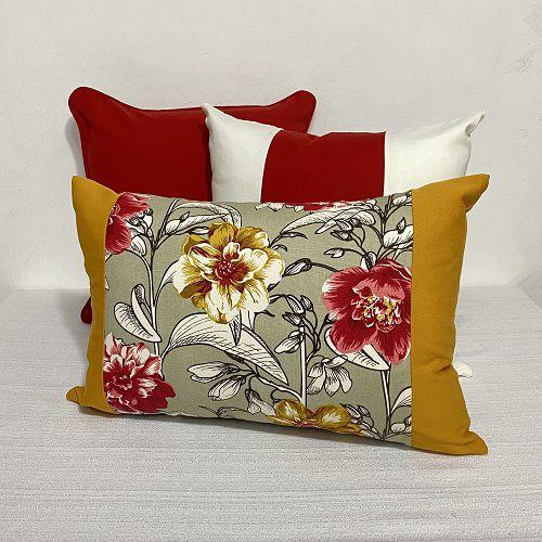 Kit Baguete PW Flores Mostarda e Vermelho