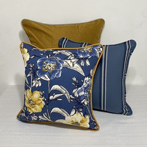 Kit Padrão Cotone Flores Azul e Amarelo e Listra Indigo