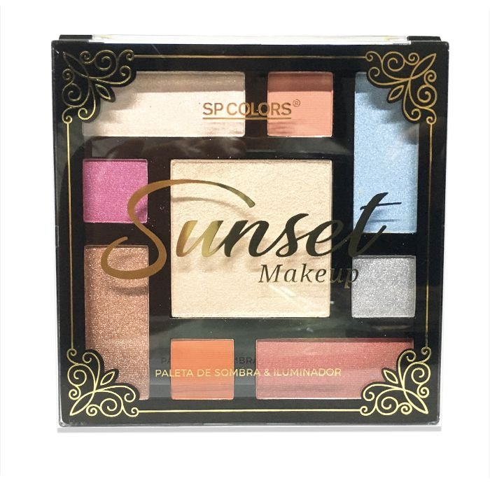 Paleta de Sombra e Iluminador Sp Colors Sunset Makeup