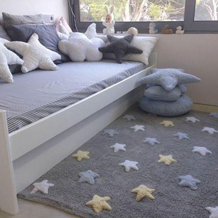 Tapete Infantil 120 x 160 Lorena Canals Star Colorido Gris/Azul