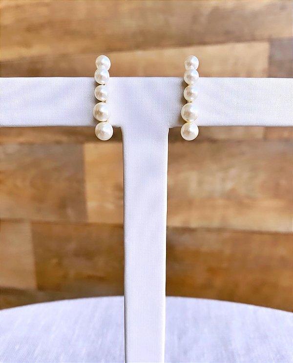 Brinco Ear Hook de Pérolas