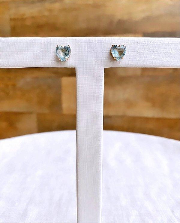 Brinco Coração Cristal Azul