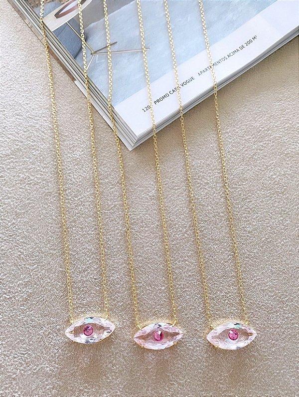 Colar Olhinho Cristal Rosa (45CM / Compr. MÉDIO / Vendido à Unidade)