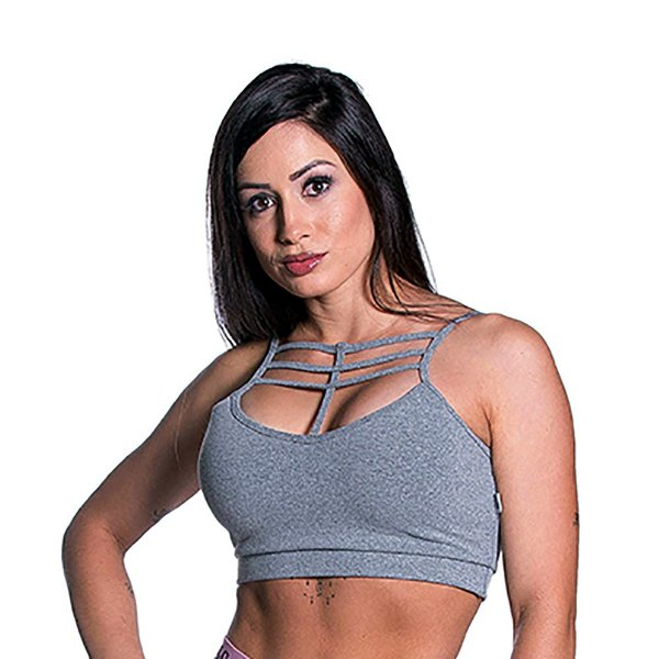 Top Curves Strappy Liso Cinza Movimento e Cia