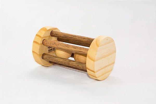 Brinquedo bebê chocalho redondo madeira com bola mesclado
