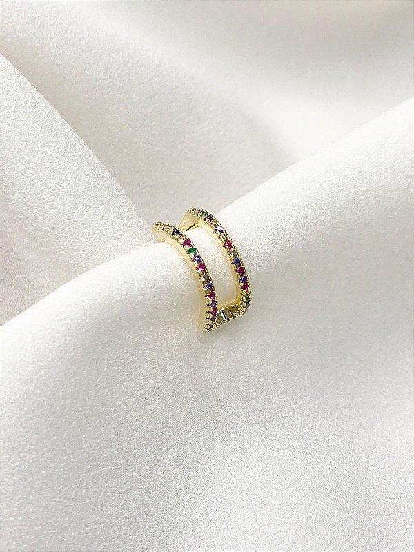 Piercing fake Duo rainbow banhado a ouro