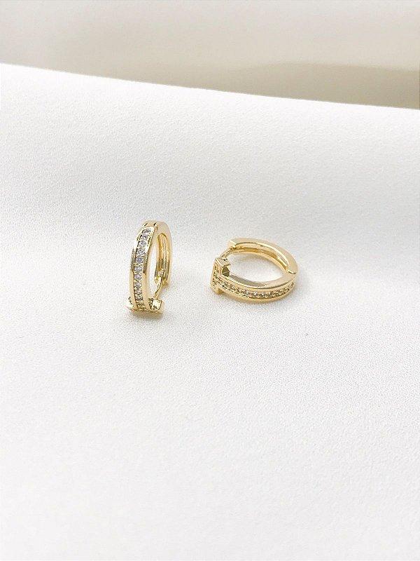 Brinco Tiffany de argolinha cravejada dourada