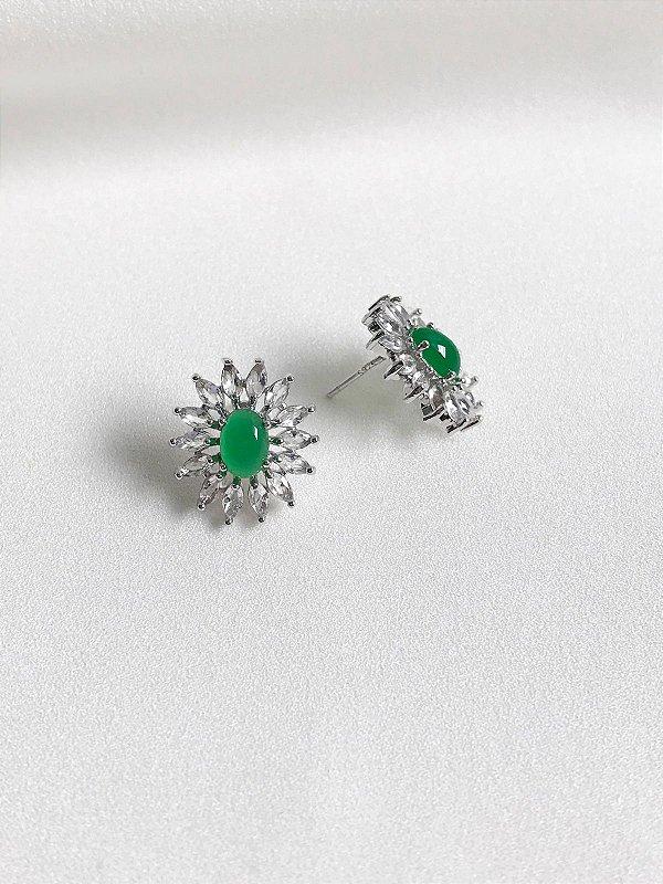 Brinco Tati verde esmeralda com navetes pino S925