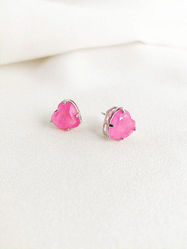 Brinco Heart Pink fusion premium folheado a ouro branco