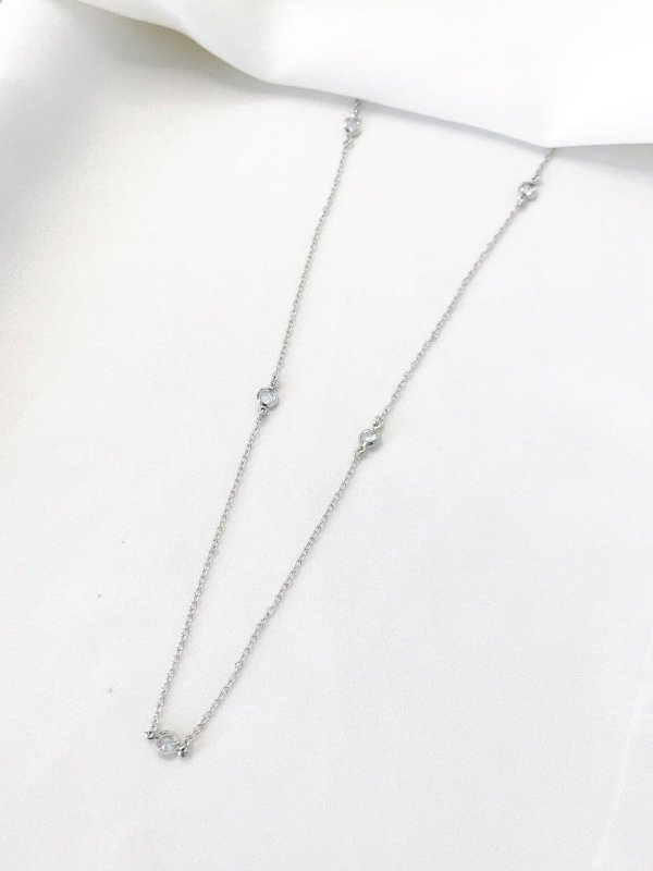Colar Silver Diamond em tiffany folheado a ródio branco