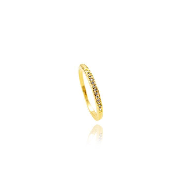 Anel Pretty aparador cravejado com microzircônias banhado a ouro