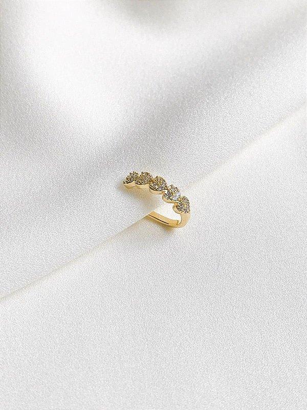Piercing Fake corações cravejados dourado