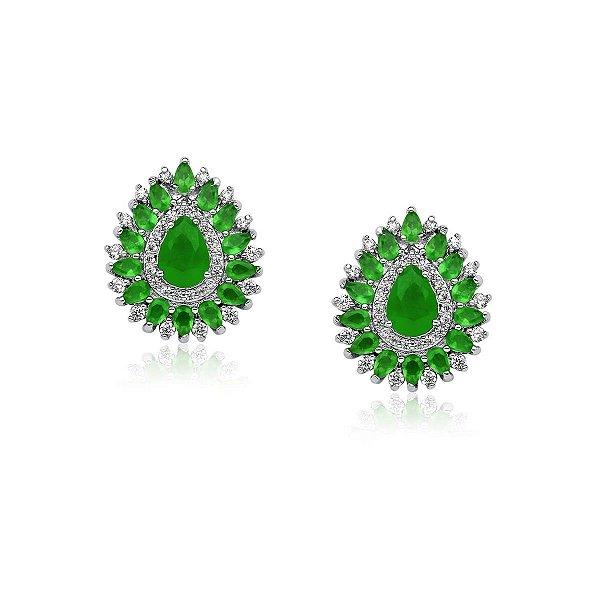 Brinco Emerald em gota verde banhado