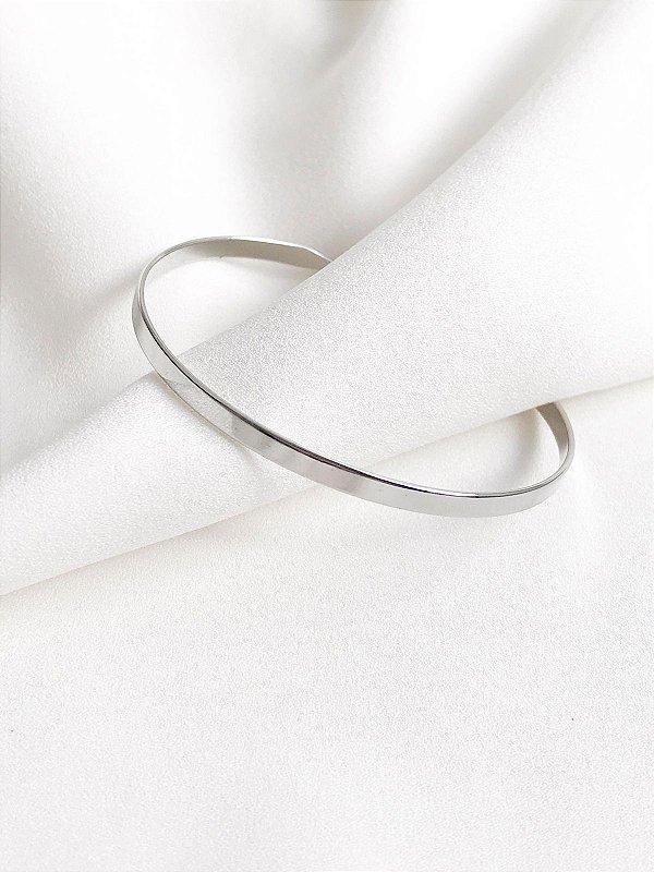 Bracelete Rafa em aro liso banhado a ródio