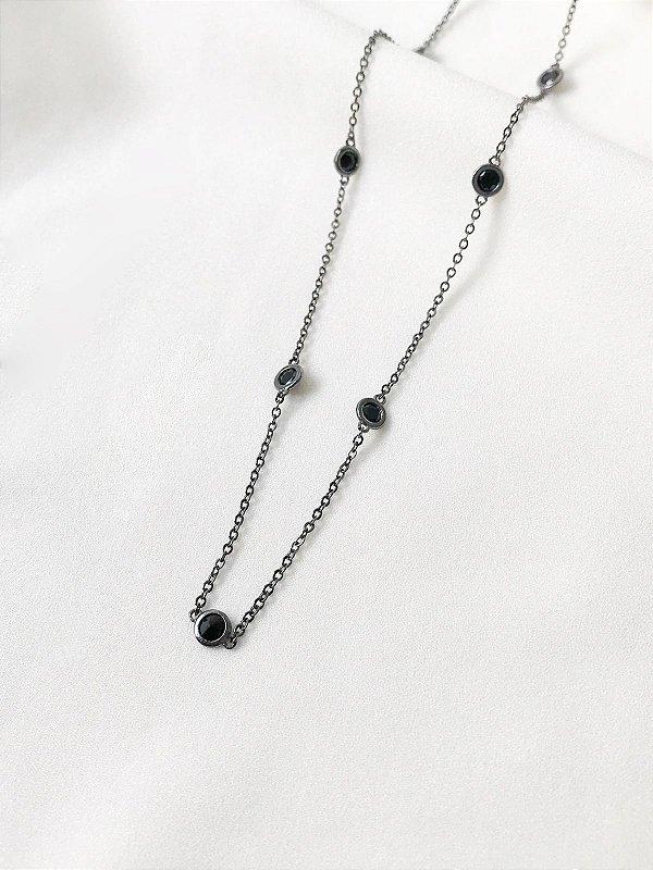 Choker Diamond Black tiffany ródio negro