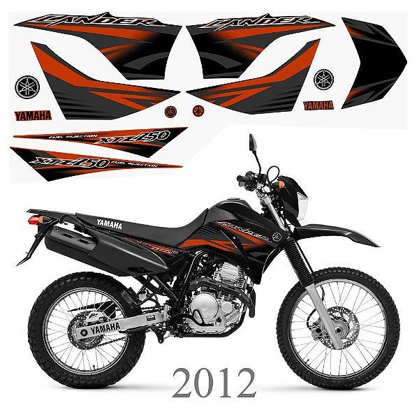 Faixa Lander 250 laranja para moto preta grafismo 2012