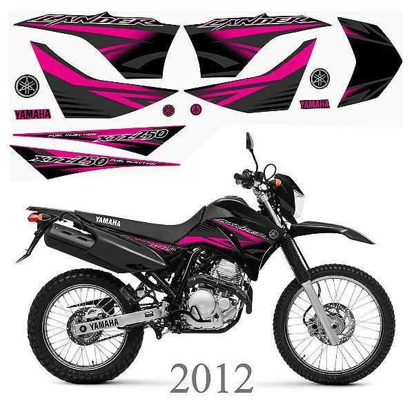 Faixa Lander 250 rosa para moto preta grafismo 2012