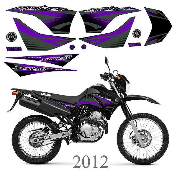 Faixa Lander 250 roxa para moto preta grafismo 2012