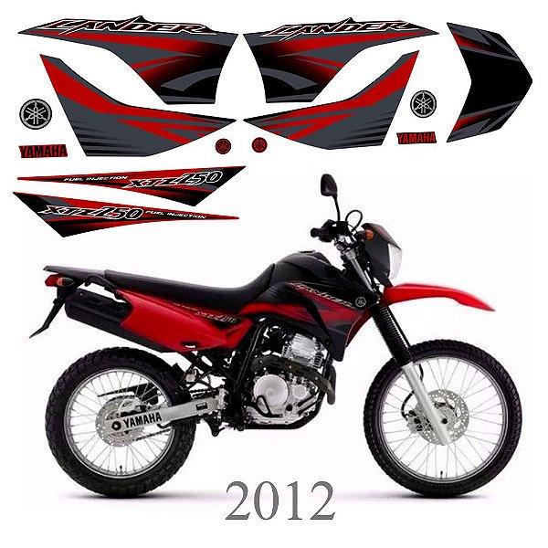 Faixa Lander 250 vermelha para moto preta grafismo 2012