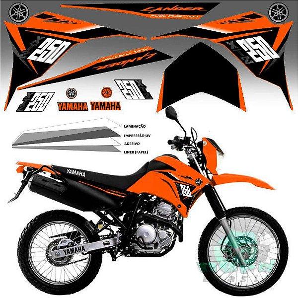Faixa Lander 250 laranja grafismo 2015