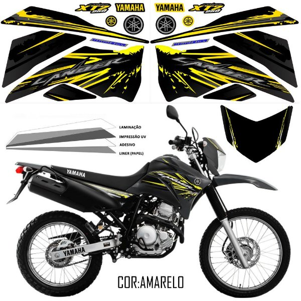 Faixa Lander 250 preto com amarelo grafismo 2017