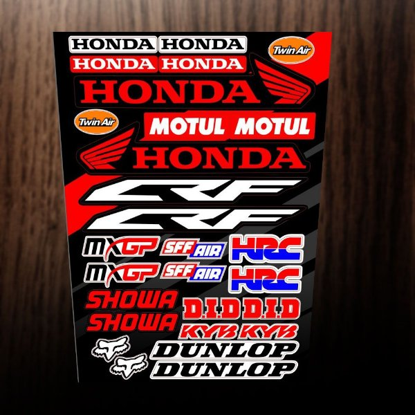 Adesivos refletivos Honda, motul, crf, mxgp, hrc, showa, did, dunlop, fox, sff air,twin air