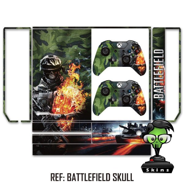 Adesivo skin xbox one fat Battlefield skull