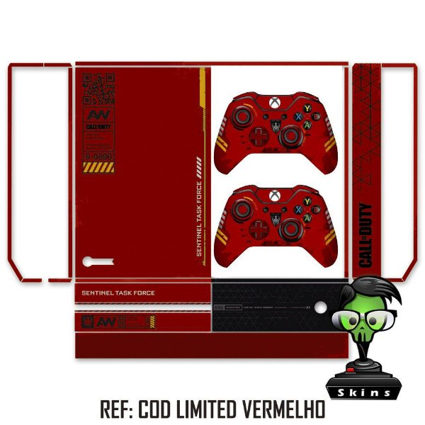 Adesivo skin xbox one fat cod limited red