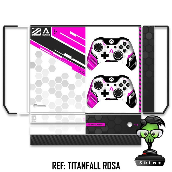 Adesivo skin xbox one fat Titanfall rosa