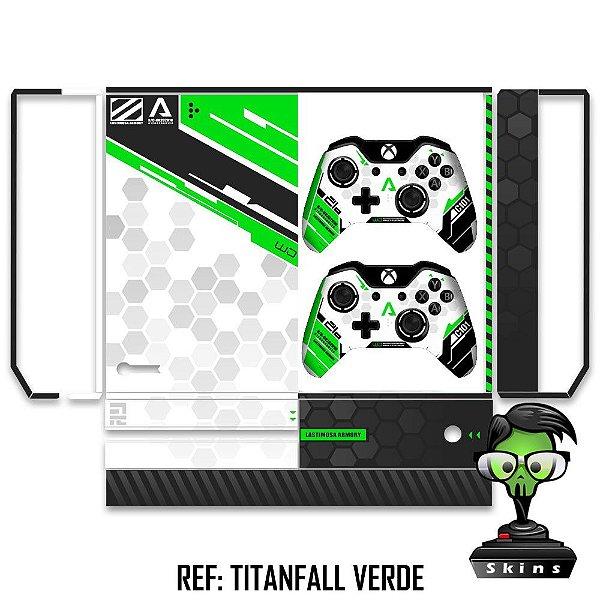 Adesivo skin xbox one fat Titanfall verde