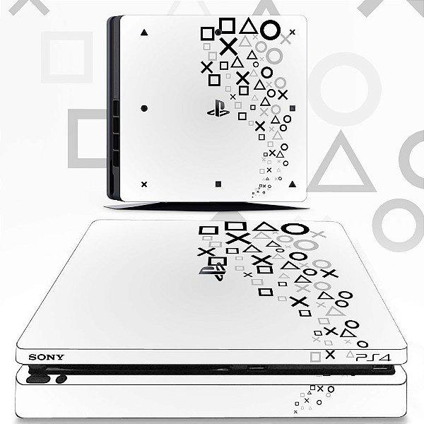 Adesivo skin ps4 slim Logos branco