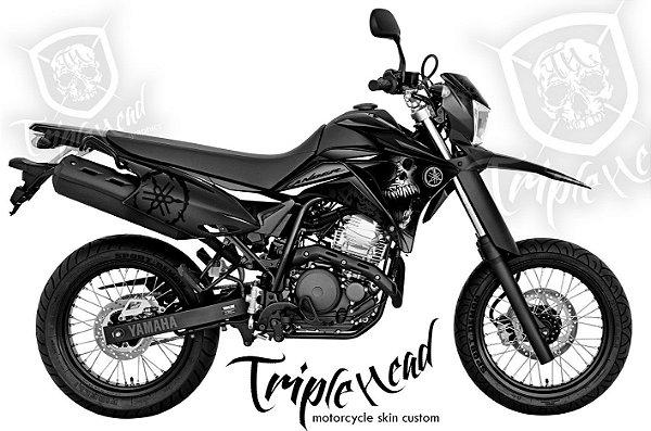 Faixa Lander 250 Skull cinza + par de logos Yamaha escapamento + logos advertencia