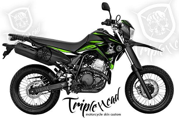Faixa Lander 250 adesivo Skin custom skull verde