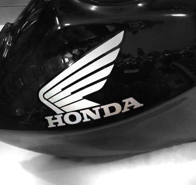 Adesivo de tanque Asa Honda prata letras recortadas