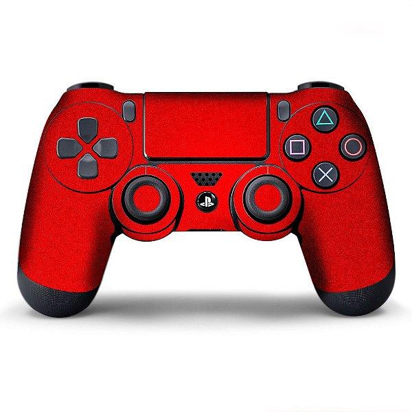 Adesivo de Controle PS4 Vermelho Metalizado Mod 02