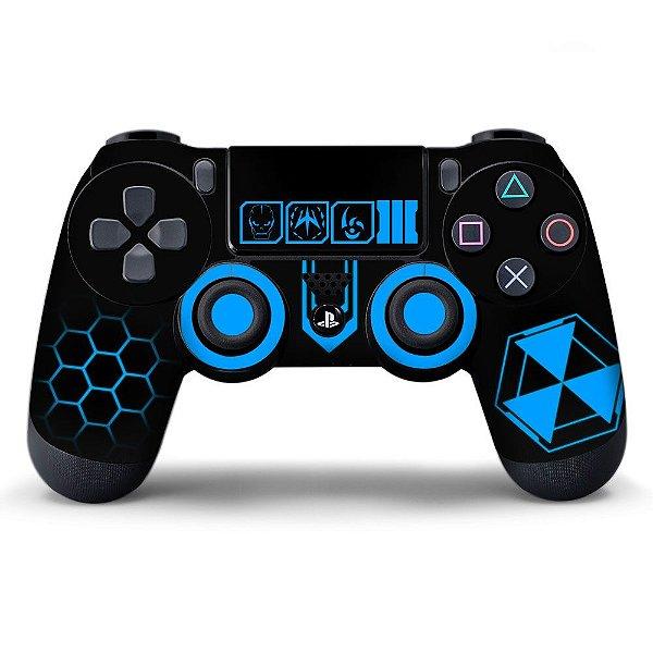Adesivo de Controle PS4 Black Ops Blue Mod 01