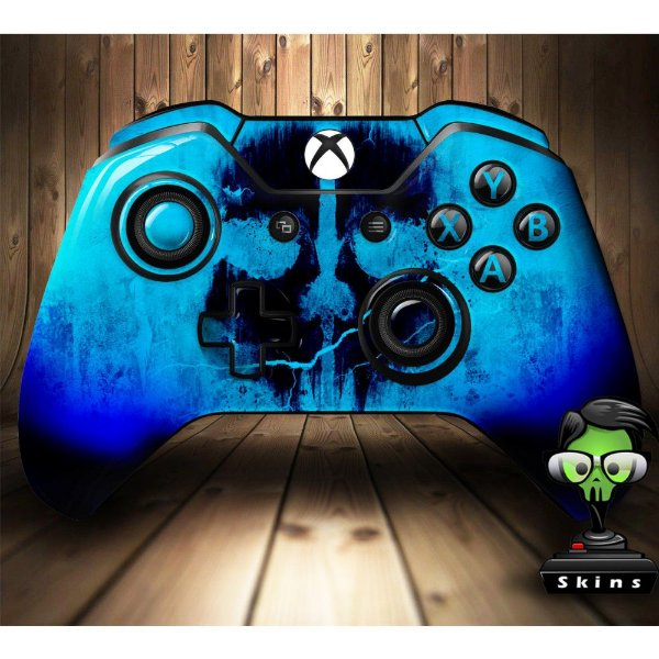 Sticker de Controle Xbox One Cod Ghosts Skull Blue